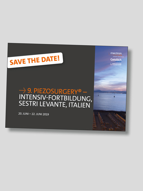 Save the Date! - Flyer zur 9. PIEZOSURGERY Intensiv-Fortbildung, Sestri Levante, Italien